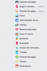 MarketPlace en la versión de facebook de Ordenador